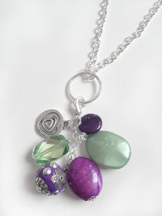 Purple & Green Bauble With Chain by KananiKouture