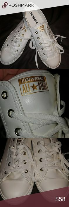 New Converse New leather like Converse with gold accents Converse Shoes Sneakers