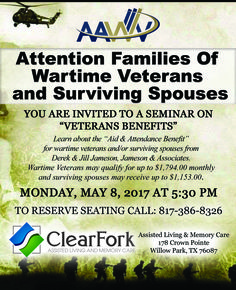 clear fork invited you to a veterans benefits event this flyer for our veterans event