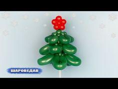 Ёлка из шаров на палочке Christmas fir-tree of balloons - YouTube