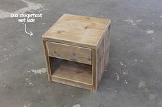 Handig nachtkastje met lade van oud steigerhout