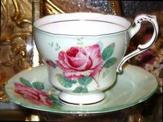 PISTACCHIO LIME & PINK ROSES PARAGON TEA CUP AND SAUCER English Teacup