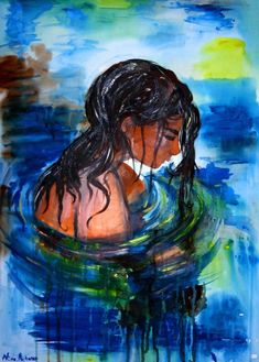"""This is a listing of my original painting called """"Baden Baden (Studies on Finnish Melancholy)"""" . Painted on mounted canvas with acrylics you can hang it straight to the wall. (c) Niina Niskanen 2016 Signed by artist Packed with great love and care Blue Canvas Art, Large Canvas Art, Large Painting, Acrylic Painting Canvas, Canvas Size, Buy Paintings Online, Online Painting, Contemporary Art For Sale, Modern Art"""