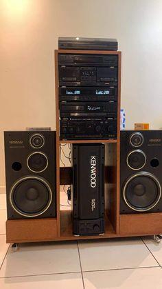 Home Theater Sound System, Home Theatre Sound, Home Theater Setup, Hifi Music System, Audio System, Poste Radio Vintage, Kenwood Hifi, Audio Rack, Speaker Box Design