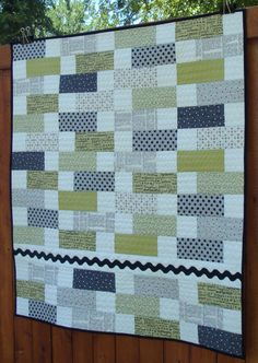 Easy pattern to do a quick quilt for Jacob's room. Perhaps in grays and reds.