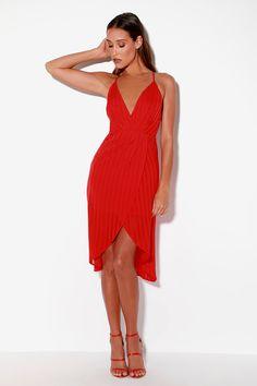 646cd92c9cbb Lulus | Panache Red Backless Midi Dress | Size X-Large | 100% Polyester