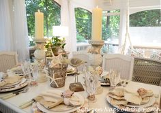 Between Naps on the Porch   Shell Chargers for a Coastal Themed Table Setting   http://betweennapsontheporch.net