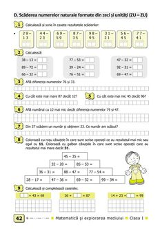 Clasa I : Matematică şi explorarea mediului. Clasa I. Partea I - (E2) First Grade Worksheets, Math Sheets, Preschool At Home, Math For Kids, School Lessons, Algebra, Kids Education, Curriculum, Thing 1