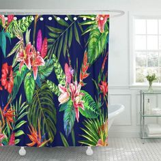 Purchase Tropical Paradise Floral Watercolour Exotic Leaves Flowers Botanical Blue Bathroom Shower Curtain inch from Andrea Marcias on OpenSky. Colorful Shower Curtain, Floral Shower Curtains, Bathroom Shower Curtains, Tropical Vibes, Tropical Paradise, Tropical Flowers, Tropical Curtains, Floral Watercolor, Watercolour