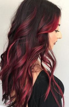 Red highlights Ideas for blonde, brown and black hair - Part .- Red Highlights Ideas for Blonde, Brown, and Black Hair – Part - Red Balayage Hair, Red Ombre Hair, Balayage Brunette, Ombre Hair Color, Cool Hair Color, Hair Highlights, Black Hair With Red Highlights, Hair Colors, Red Black Hair