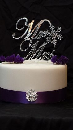 Winter Themed Wedding Snowflake Mr & Mrs Cake Topper Wedding Cake by SpectacularEvents