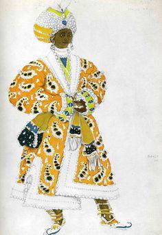 Costume design by Leon Bakst for Le Dieu Bleu, 1912