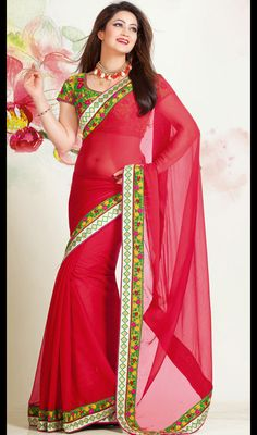 Red Chiffon Resham Enhanced Saree Price: Usa Dollar $84, British UK Pound 50£, Euro62, Canada CA$91 , Indian Rs4536.