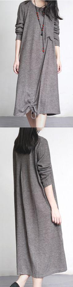 Autumn light gray unique cotton woolen dresses elegant caftans