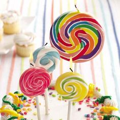 Celebrate in style with these 'Creative and Cool Birthday Candles'. These candles will liven up any party. Large Lollipops, Swirl Lollipops, Candy Theme, Candy Party, Party Favors, Lollipop Birthday, Birthday Parties, Lollipop Lollipop, Birthday Cake