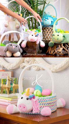 Crochet Easter Baskets (Unicorn & More) Adorable easter basket crochet patterns of a unicorn, dinosaur, bunny, lamb, and more! Crochet Easter, Crochet Bunny, Crochet Animals, Crochet For Kids, Crochet Unicorn Pattern, Crochet Basket Pattern, Crochet Ideas, Crochet Baskets, Crochet Dolls