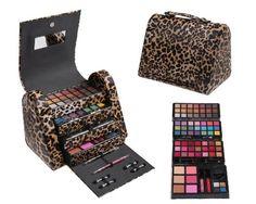 Cameo Cosmetics 86pc Premium Make Up Set with Reusable Brown Leopard Bag - Eye Shadows, Lip Colors, Lip Balms, Face Powders, Blushes, Lip Sticks, Lip Glosses, Pencils, Brush, Applicators