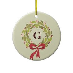 Monogrammed Wreath - Our First Christmas Christmas Tree Ornaments