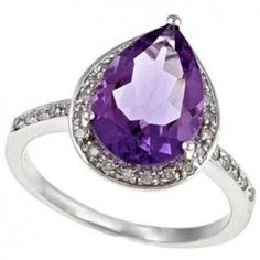 Pear Amethyst Halo Diamond Engagement Ring