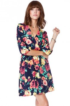 Midnight Rose Wrap Dress / ShopSosie #print #fall #flowers #wrapdress #dress #shopsosie