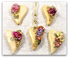 Hearts and Flowers pendants with drop shadow, via Flickr.