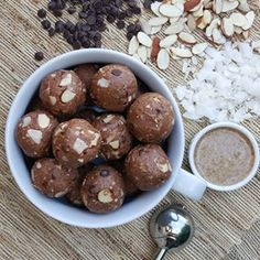 Yield appox. 30 balls Directions: 1. Combine in large bowl: 3/4 cup all natural almond butter 1 cup uncooked rolled oats (gluten-free) 1/3 cup raw honey, or pure maple syrup *Note: Sometimes I add a bit LESS sweetener & they are still WONDERFUL! 1 tsp vanilla or almond extract 2 scoops chocolate...