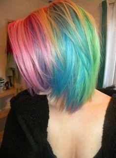 Short Rainbow Hair ♡ really want to try this Short Rainbow Hair, Pastel Rainbow Hair, Colorful Hair, Purple Hair, Ombre Hair, Blonde Hair, Cute Hairstyles For Short Hair, Short Hair Styles, Hairstyles Haircuts