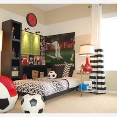 Austinu0027s Room Sports Themed Bedroom Design Ideas For Boys: The Soccer Ball  Of Sports Bedroom Ideas
