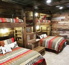Check out this adult bunk room! Plenty of room for family and friends. This design features pull out drawers rustic barn wood tin details and gas piping. This is one of many unique builds we have done for some amazing clients! Call today to start your project too!  #ReclaimRenew #bunkroom #bunkbeds #rustic #barnwood #tin #piping #wood #beds #guests #basementremodeling #lodge #decor #stairs Bunk Beds For Adults, Bunk Beds For Boys Room, Adult Bunk Beds, Bunk Bed Rooms, Farmhouse Bunk Beds, Rustic Bunk Beds, Cabin Bunk Beds, Wood Beds, Rustic Barn