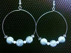 Silver and White Beaded Hoop Earrings