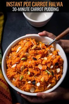 Make this mouth watering Gajar Halwa (Carrot Halwa) recipe in less than 30 minutes. No more toiling in the kitchen for hours! Made from grated carrots, milk, condensed milk, sugar and cardamon, this delicious carrot pudding is India's most beloved dessert.