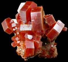 Superb specimen of large lustrous red Vanadinite crystals with orange-brown color on select faces. The Vanadinite crystals are thick, hexagonal form, and large for the species.