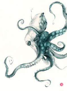 Octopus Drawing, Octopus Painting, Octopus Wall Art, Octopus Sketch, Octopus Print, Watercolor Sea, Watercolor Animals, Watercolor Paintings, Watercolour Tattoos