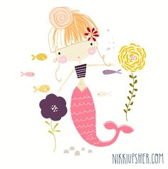 Baby art illustration ales ideas for 2019 Art And Illustration, Mermaid Illustration, Pattern Illustration, Illustrations, Cute Mermaid, Mermaid Art, Baby Art, Cute Characters, Print Patterns