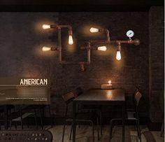 Industrial retro tubería nostalgia lámpara de pared del pasillo tema de restaurante bar café, lámparas de forja Edison