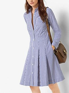 Crafted from crisp cotton-poplin, this striped shirtdress descends into a pretty pleated silhouette for a feminine effect. Finish this style with classic flats or pumps. Vestido Michael Kors, Simple Dresses, Casual Dresses, Dress Outfits, Fashion Dresses, Striped Shirt Dress, Pleated Shirt, Western Dresses, Indian Designer Wear