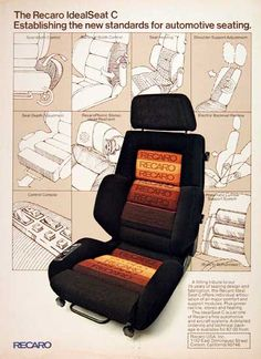 1978 Recaro Seats original vintage advertisement. Presenting IdealSeat C, the new standard for automotive seating.