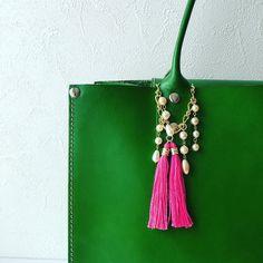 Patel pink tassel charm #tasselcharm #ピンクタッセルのバッグチャーム