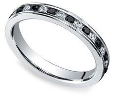 White & Black Diamond Eternity Wedding Ring in White Gold
