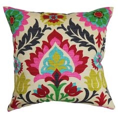 Down accent pillow with a vibrant floral motif. Made in the USA.   Product: PillowConstruction Material: Cotton a...