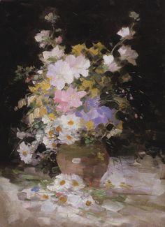 Nicolae Grigorescu Art Floral, Bouquet Champetre, Flower Art, Art Flowers, Wild Flowers, Caravaggio, Vase, Modernism, Painting & Drawing