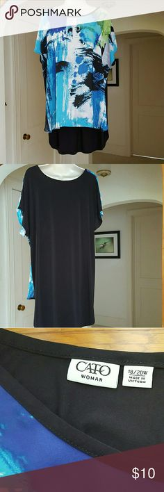 Teal and Black Hi-Lo Slip-on Blouse This gorgeous top looks like a water color. The back is black. Soft and easy care. Machine wash and dry. If it's polyester and not delicate, it goes in my dryer. It doesn't shrink, melt or pill, so why not? Size 18/20 Cato Tops Blouses