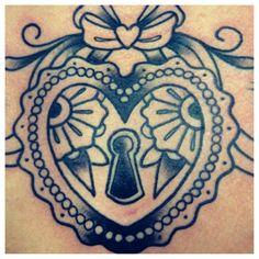 Heart key hole tattoo
