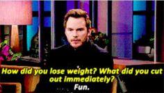 Chris Pratt tells Ellen the secret to weight loss.