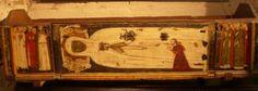 Maria de Cervelló, la santa mercedària, Sepulcre de la santa, amb el rei Pere el Cerimoniós agenollat, s. XIV