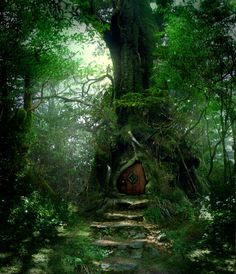 This is just absolutely beautiful. I wish I could have something like for my dream home's front door.  Forest Door Stock by wyldraven.deviantart.com on @deviantART