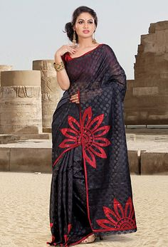 Majestic Black Banarasi Silk Saree. This Beautiful Attire Is Showing Some Amazing Embroidery Done With Printed Motifs & Stones Work. Buy Now Get Free Shipping  on #Black #Banarasi #Silk Printed #Saree.   http://www.sareenet.com/sare-diff17967.html