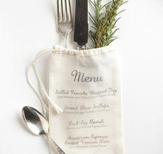 stamped muslin bag // #wedding #menu
