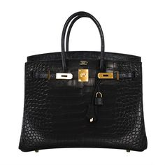 Hermes Birkin Bag 35cm Black Matte Alligator Gold Hardware! Heads Will Turn! | From a collection of rare vintage handbags and purses at http://www.1stdibs.com/fashion/accessories/handbags-purses/