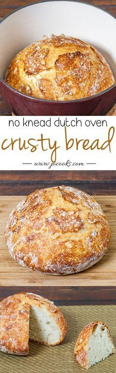 Crusty Bread – bake this easy to make bread in a cast iron pot and you have perfection, no kneading required, 4 simple ingredients.